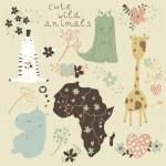 Cute wild animals: giraffe crocodile hippo — Stock Vector #31472065