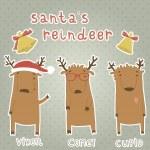 набор наклеек с оленей Санта-Клауса — Cтоковый вектор