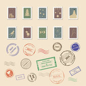 Vector collection of vintage post stamps. — Stock Vector