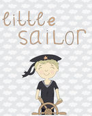 Card with little sailor at the wheel on the background with clouds — Vector de stock