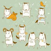 Zodiac icon set. Capricorn, taurus, aquarius, pisces, gemini, aries. Year of the Horse. — Stock Vector
