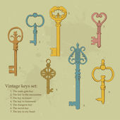 Illustration of vintage keys. Book style. — Stock Vector