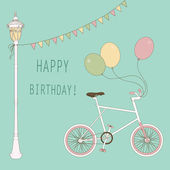 Cute card with balloons and bicycle for the birthday party. — Stock Vector