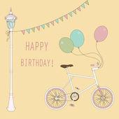 Scheda carino con palloncini e biciclette per la festa di compleanno. — Vettoriale Stock