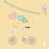 Cute card with balloons and bicycle for the birtday party. — Stock Vector