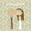 Pretty wedding couple — Stockvectorbeeld