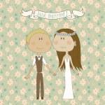 Pretty wedding couple — Stock Vector #32805909