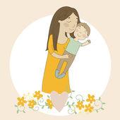 Kaart met moeder en kind — Stockvector