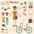 Hipster girl — Stock Vector