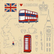 Vector set of London symbols — Stock Vector #34320799
