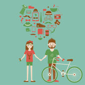 Young hipster couple in love. — Stock Vector