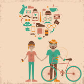 Young hipster couple in love. — Stock vektor