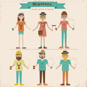 Hipster girls and boys set — Stock Vector