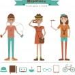 Funny cartoon illustration of young girls with hipster fashion style. — Imagen vectorial
