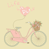 Pretty pink bicycle with tulips — Stock Vector