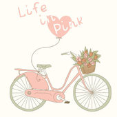 Pretty pink bicycle with tulips — Vector de stock