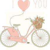 Vélo rose avec tulipes — Vecteur