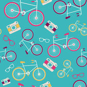 Vector seamless pattern with vintage bicycle, camera, sunglasses, speech bubble silhouettes — Stock Vector