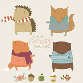Cute animals living in the forest. Cute vector set. — 图库矢量图片