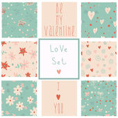 Set of St. Valentines patterns — Stock Vector