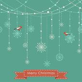 Vánoční pozadí s ptáky, girlandy a sněhové vločky — Stock vektor