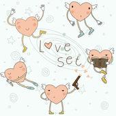 Cartoon cute hearts — Stock Vector