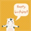 Cute happy birthday card with fun cow. — Stock Vector #37783069