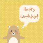 Cute happy birthday card with fun bear. — Stock Vector #37783077