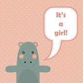 Gelukkige verjaardagskaart met leuke hippo. — Stockvector