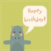 Happy birthday card with fun hippo. — Wektor stockowy