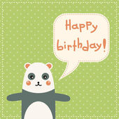 Cute happy birthday card with fun panda. — Vecteur