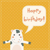 Cute happy birthday card with fun cow. — Wektor stockowy