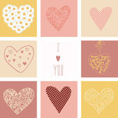 Hearts set for Valentines day — Stock Vector