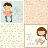 Girl & boy in love. — Stock Vector