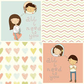 Girl & boy in love — Vector de stock