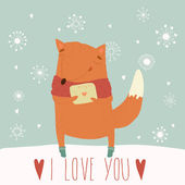 Valentine card with fox. — Stock Vector