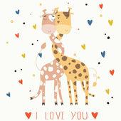 Cartoon Giraffe in love — Stock Vector
