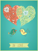 Floral wallpaper with bird and hearts — Stockvector