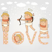 Card for valentine day with cute cupids — Vector de stock