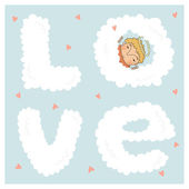 Card for valentine day with cute cupids — Stockvector