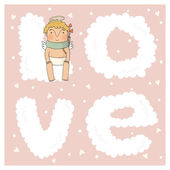 Card for valentine day with cute cupids — Stok Vektör