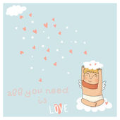 Card for valentine day with cute cupid — Vector de stock