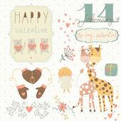 Valentine card with giraffe couple — Stock Vector