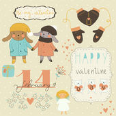 Valentine card with bunnies — Stock Vector
