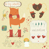 Valentine card with cartoon fox. — Stock Vector