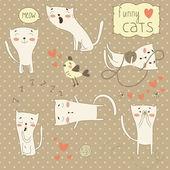 Set of funny cartoon love cats. — Stock Vector