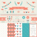 Set of elements for wedding design. — Stock Vector