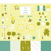 Sweet decorative garden set for scrap-booking art. — Stock Vector