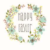 Happy Easter card with floral wreath. — Stock Vector
