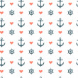 Seamless nautical pattern with red heart, anchors and ship wheels — Stock Vector #42866001
